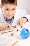 Boy preparing to dissect a butterfly
