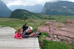 Jason on location with his youngest daughter